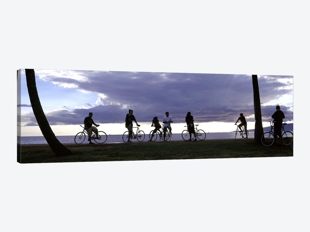 Tourists cycling on the beach, Honolulu, Oahu, Hawaii, USA by Panoramic Images 1-piece Canvas Art Print