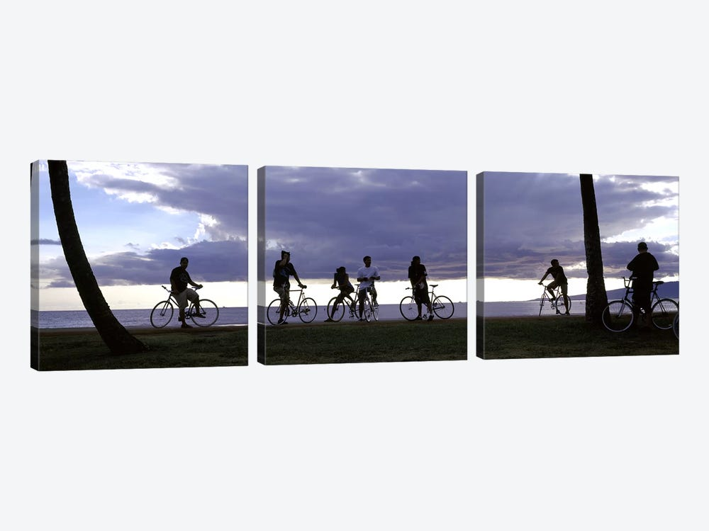 Tourists cycling on the beach, Honolulu, Oahu, Hawaii, USA by Panoramic Images 3-piece Canvas Print
