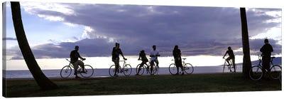 Tourists cycling on the beach, Honolulu, Oahu, Hawaii, USA Canvas Art Print