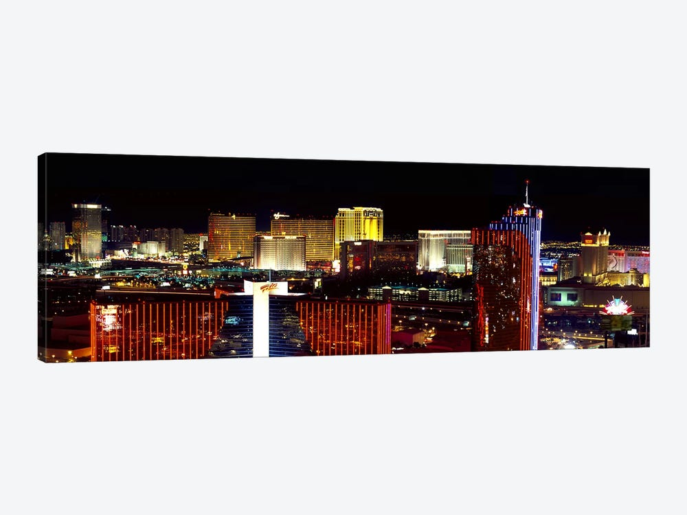 High angle view of a city at night, Las Vegas, Clark County, Nevada, USA 2011 1-piece Canvas Art
