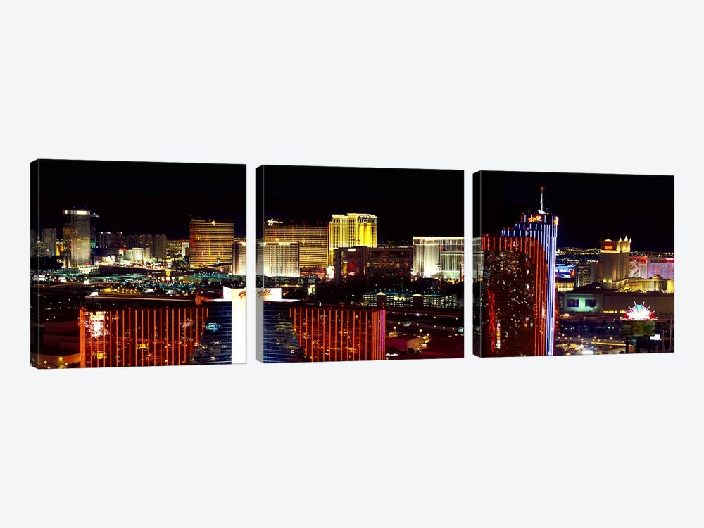 High angle view of a city at night, Las Vegas, Clark County, Nevada, USA 2011 by Panoramic Images 3-piece Canvas Artwork