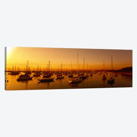 Boats moored at a harbor at dusk, Chicago River, Chicago, Cook County, Illinois, USA Canvas Print #PIM9227} by Panoramic Images Canvas Print