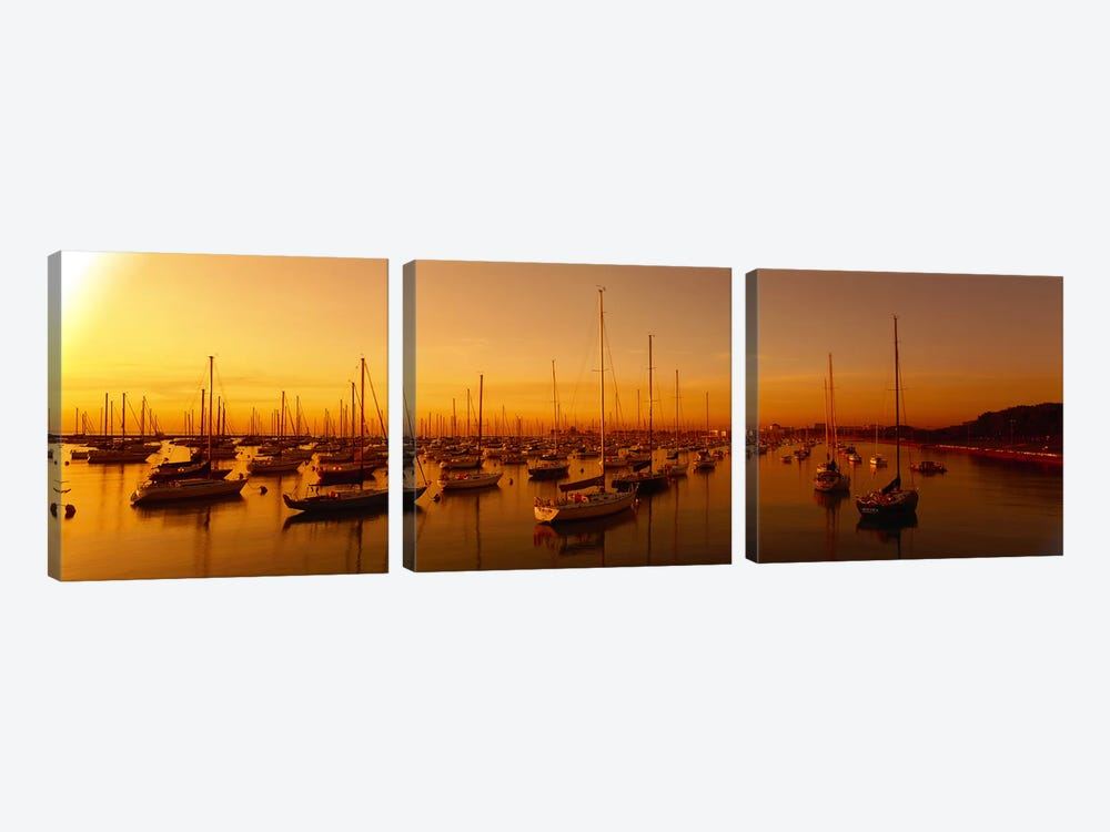 Boats moored at a harbor at dusk, Chicago River, Chicago, Cook County, Illinois, USA by Panoramic Images 3-piece Canvas Print