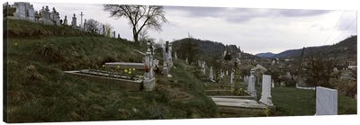 Tombstone in a cemetery, Saxon Church, Biertan, Transylvania, Mures County, Romania Canvas Print #PIM9228