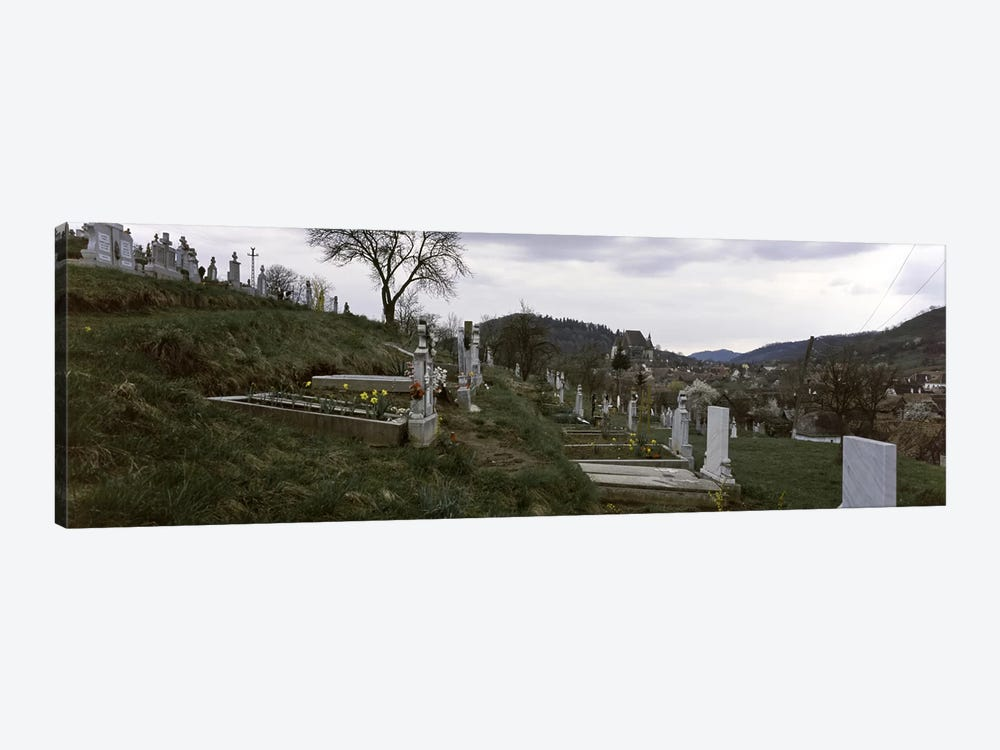 Tombstone in a cemetery, Saxon Church, Biertan, Transylvania, Mures County, Romania by Panoramic Images 1-piece Canvas Artwork