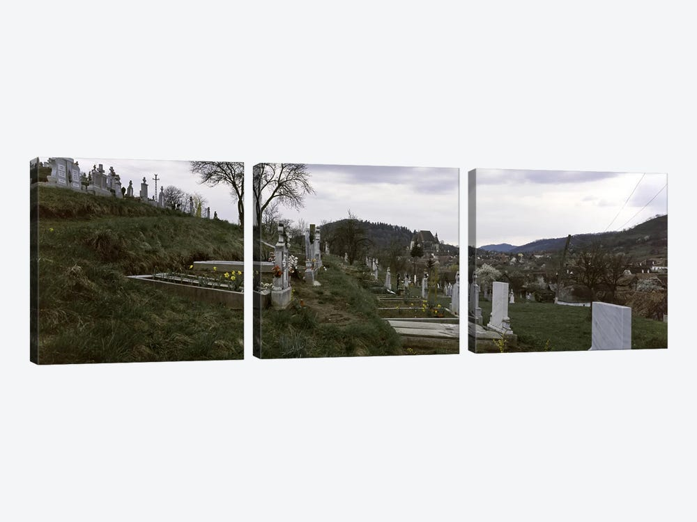 Tombstone in a cemetery, Saxon Church, Biertan, Transylvania, Mures County, Romania by Panoramic Images 3-piece Canvas Wall Art