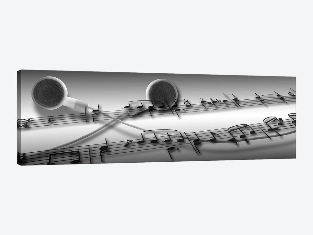 Music notes superimposed on ear phones by Panoramic Images 1-piece Canvas Art Print