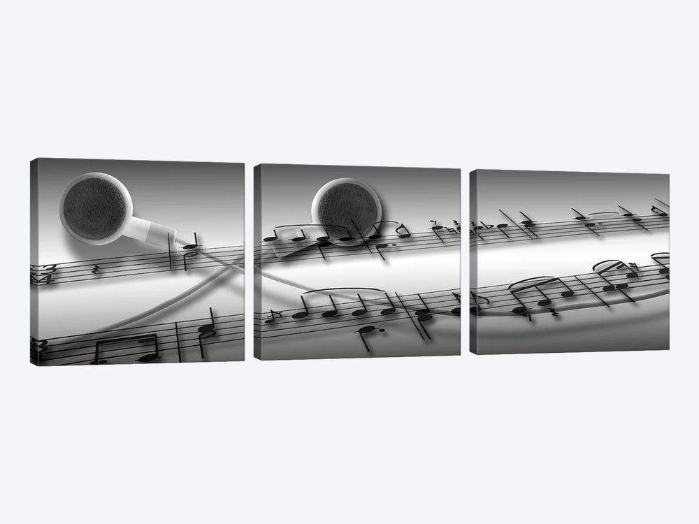 Music notes superimposed on ear phones by Panoramic Images 3-piece Canvas Print