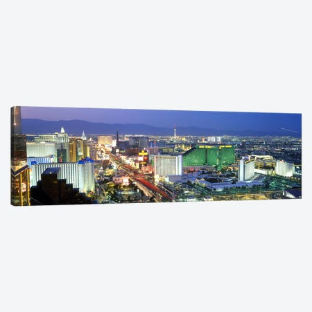 Buildings lit up at dusk in a city, Las Vegas, Clark County, Nevada, USA #2 Canvas Print #PIM9235} by Panoramic Images Canvas Art