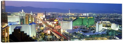 Buildings lit up at dusk in a city, Las Vegas, Clark County, Nevada, USA #2 Canvas Print #PIM9235