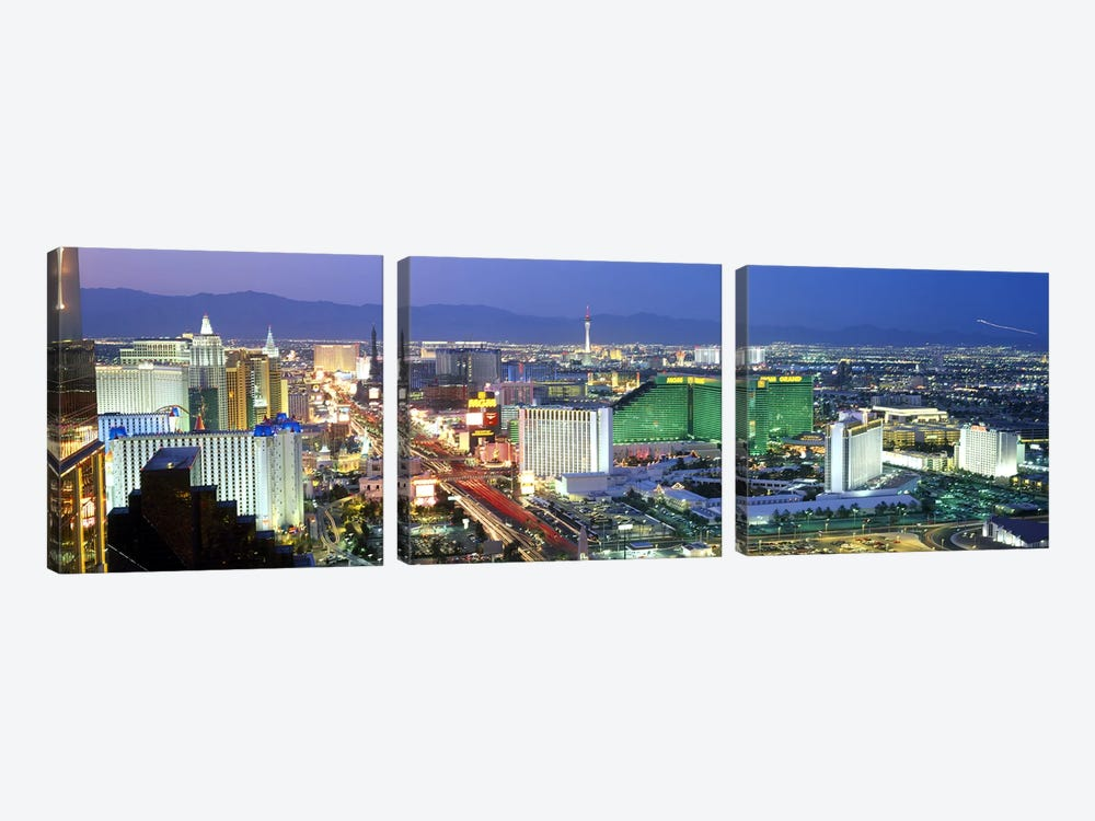 Buildings lit up at dusk in a city, Las Vegas, Clark County, Nevada, USA #2 by Panoramic Images 3-piece Canvas Wall Art