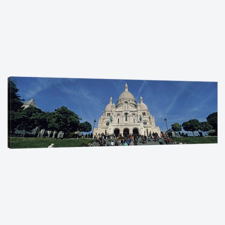 Crowd at a basilica, Basilique Du Sacre Coeur, Montmartre, Paris, Ile-de-France, France Canvas Print #PIM9237} by Panoramic Images Canvas Wall Art