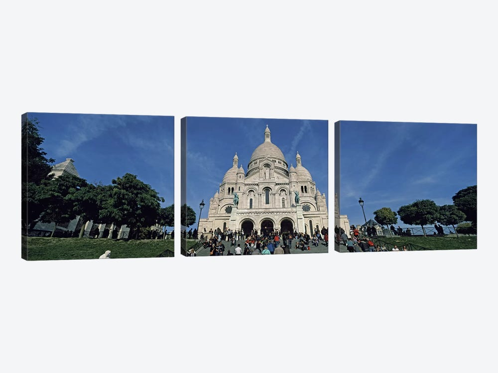 Crowd at a basilica, Basilique Du Sacre Coeur, Montmartre, Paris, Ile-de-France, France 3-piece Canvas Wall Art