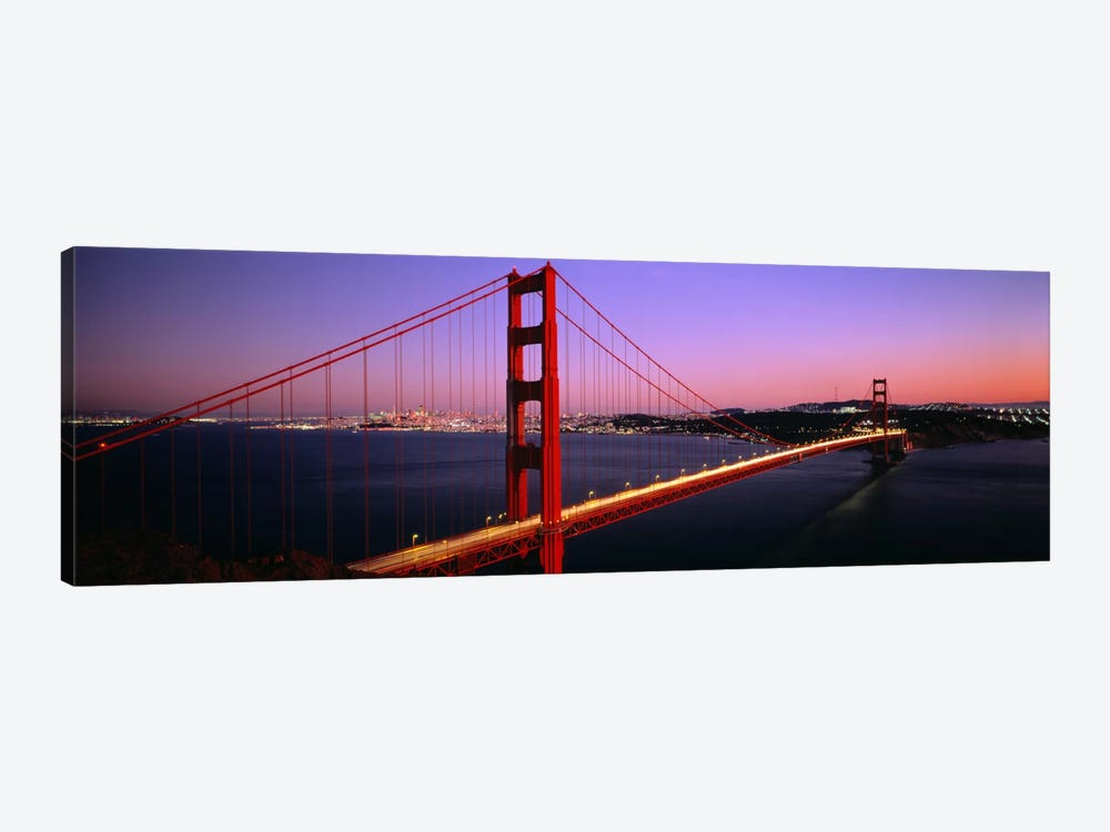 Night Golden Gate Bridge San Francisco CA USA by Panoramic Images 1-piece Canvas Print