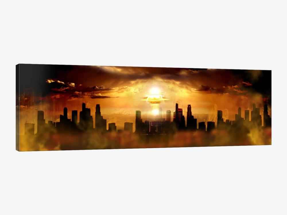 Nuclear blast behind city by Panoramic Images 1-piece Canvas Print