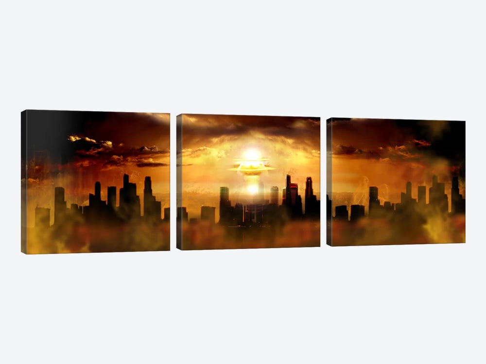 Nuclear blast behind city by Panoramic Images 3-piece Canvas Print