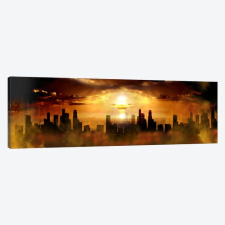 Nuclear blast behind city Canvas Print #PIM9243} by Panoramic Images Canvas Wall Art