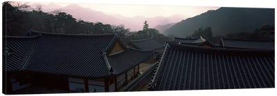 Buddhist temple with mountain range in the background, Kayasan Mountains, Haeinsa Temple, Gyeongsang Province, South Korea Canvas Print #PIM9245