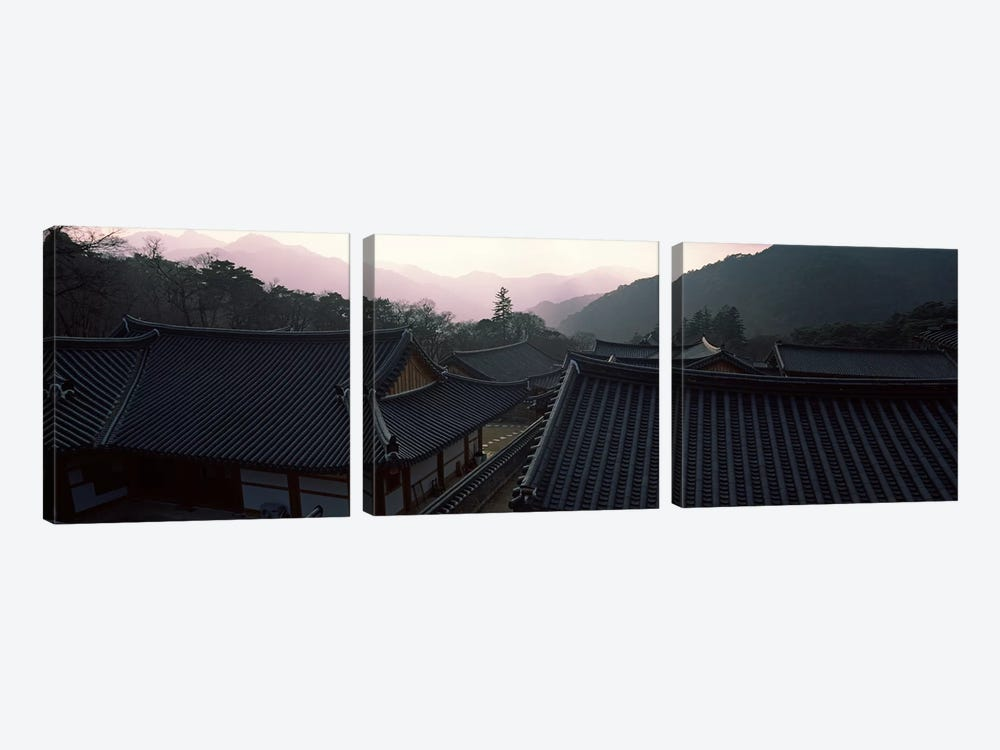 Buddhist temple with mountain range in the background, Kayasan Mountains, Haeinsa Temple, Gyeongsang Province, South Korea by Panoramic Images 3-piece Canvas Art Print
