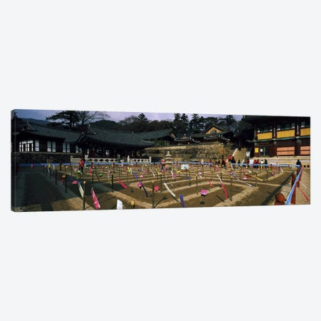Tourists at a temple, Haeinsa Temple, Kayasan Mountains, Gyeongsang Province, South Korea Canvas Print #PIM9246} by Panoramic Images Canvas Print