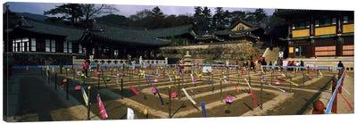 Tourists at a temple, Haeinsa Temple, Kayasan Mountains, Gyeongsang Province, South Korea Canvas Print #PIM9246