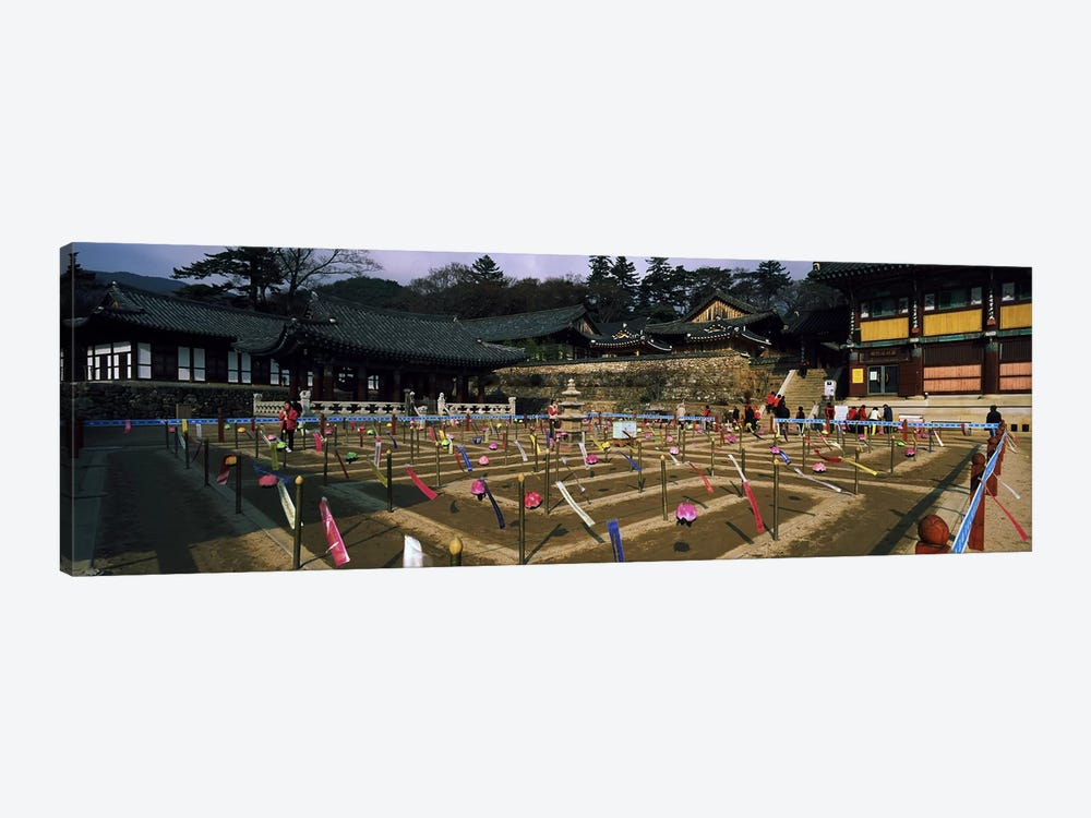 Tourists at a temple, Haeinsa Temple, Kayasan Mountains, Gyeongsang Province, South Korea by Panoramic Images 1-piece Canvas Wall Art
