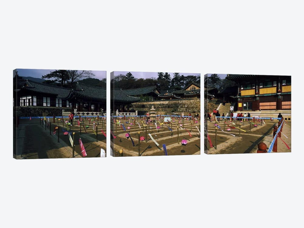 Tourists at a temple, Haeinsa Temple, Kayasan Mountains, Gyeongsang Province, South Korea by Panoramic Images 3-piece Canvas Wall Art