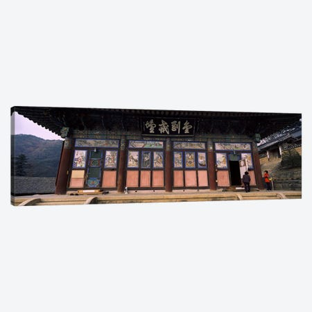 Buddhist temple with a mountain range in the background, Kayasan Mountains, Haeinsa Temple, Gyeongsang Province, South Korea Canvas Print #PIM9247} by Panoramic Images Canvas Art Print