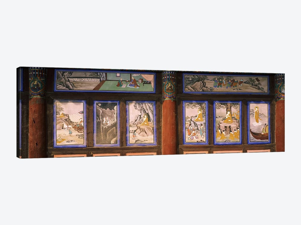 Paintings in a Buddhist temple, Kayasan Mountains, Haeinsa Temple, Gyeongsang Province, South Korea by Panoramic Images 1-piece Canvas Art