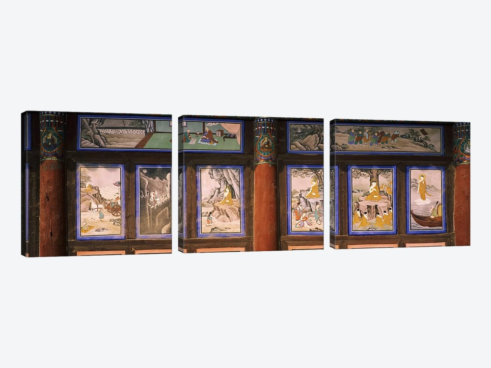 Paintings in a Buddhist temple, Kayasan Mountains, Haeinsa Temple, Gyeongsang Province, South Korea by Panoramic Images 3-piece Canvas Art