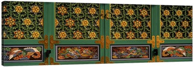 Paintings on the door of a Buddhist temple, Kayasan Mountains, Haeinsa Temple, Gyeongsang Province, South Korea Canvas Print #PIM9249