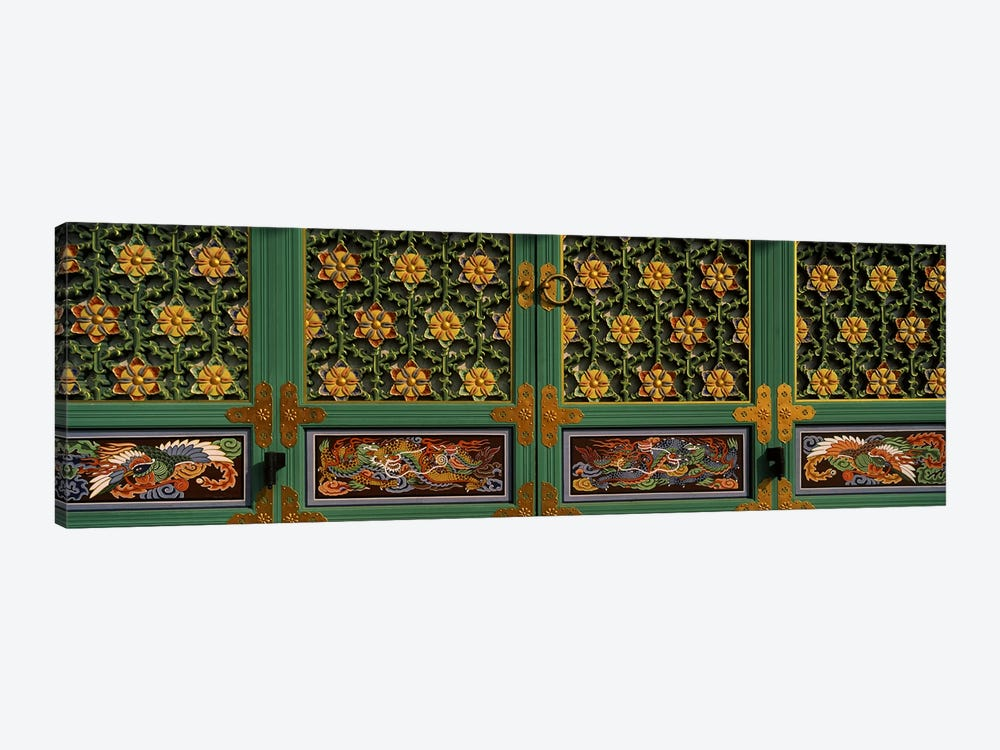 Paintings on the door of a Buddhist temple, Kayasan Mountains, Haeinsa Temple, Gyeongsang Province, South Korea 1-piece Canvas Art Print