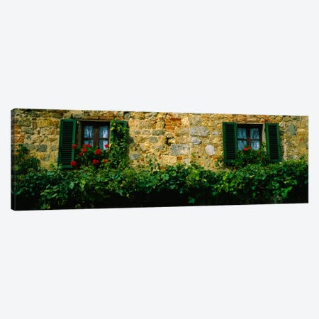 Flowers And Vines Along A Building Wall, Monteriggioni, Siena, Tuscany, Italy Canvas Print #PIM924} by Panoramic Images Canvas Art