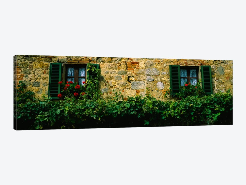 Flowers And Vines Along A Building Wall, Monteriggioni, Siena, Tuscany, Italy by Panoramic Images 1-piece Canvas Art