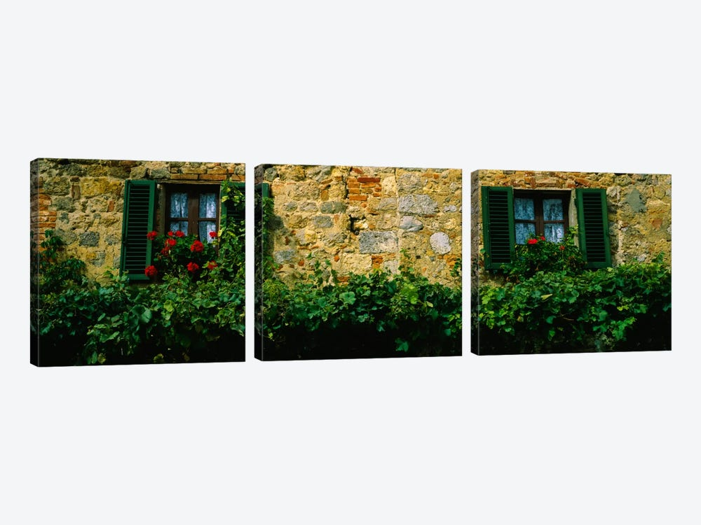 Flowers And Vines Along A Building Wall, Monteriggioni, Siena, Tuscany, Italy by Panoramic Images 3-piece Canvas Wall Art