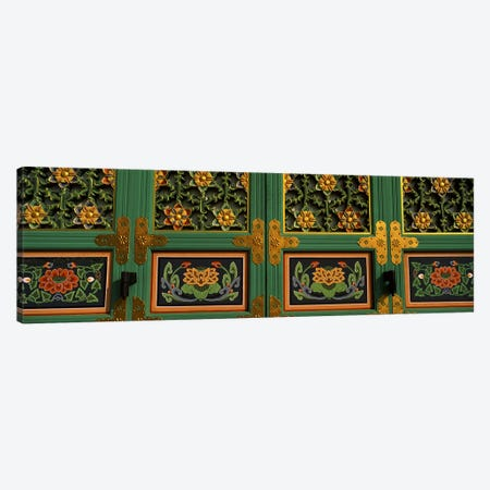 Paintings on the door of a Buddhist temple, Kayasan Mountains, Haeinsa Temple, Gyeongsang Province, South Korea #2 Canvas Print #PIM9250} by Panoramic Images Canvas Art Print
