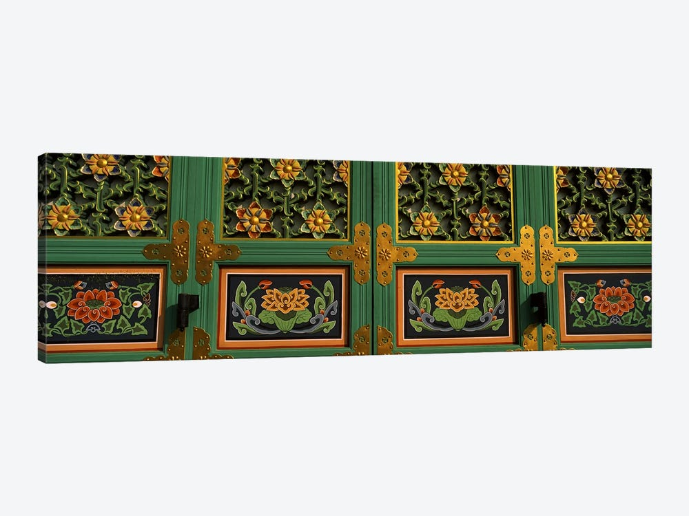 Paintings on the door of a Buddhist temple, Kayasan Mountains, Haeinsa Temple, Gyeongsang Province, South Korea #2 by Panoramic Images 1-piece Canvas Print