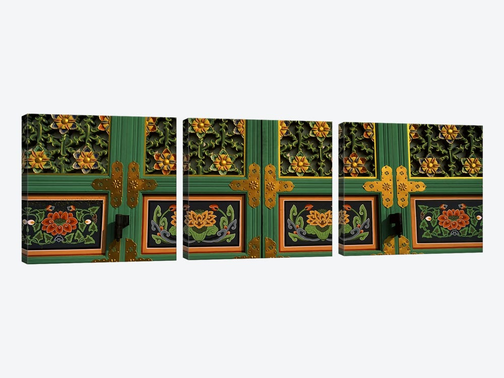 Paintings on the door of a Buddhist temple, Kayasan Mountains, Haeinsa Temple, Gyeongsang Province, South Korea #2 by Panoramic Images 3-piece Canvas Art Print