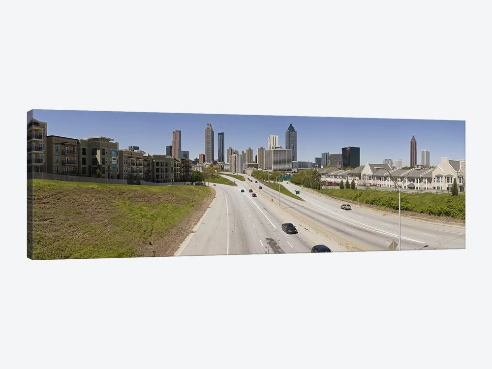 Vehicles moving on the road leading towards the city, Atlanta, Georgia, USA by Panoramic Images 1-piece Canvas Artwork