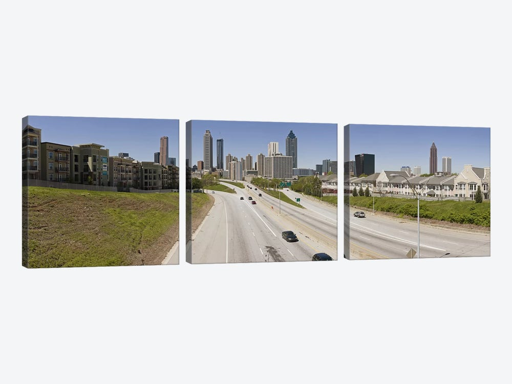 Vehicles moving on the road leading towards the city, Atlanta, Georgia, USA by Panoramic Images 3-piece Canvas Artwork