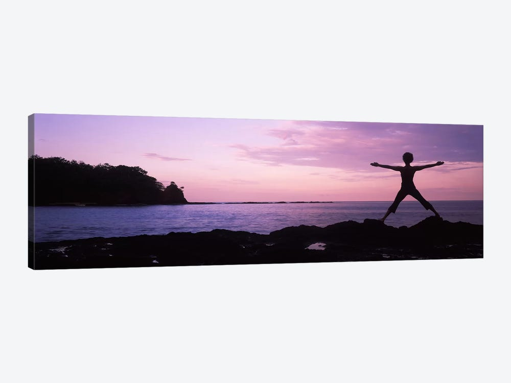 Rear view of a woman exercising on the coast, La Punta, Papagayo Peninsula, Costa Rica 1-piece Canvas Print