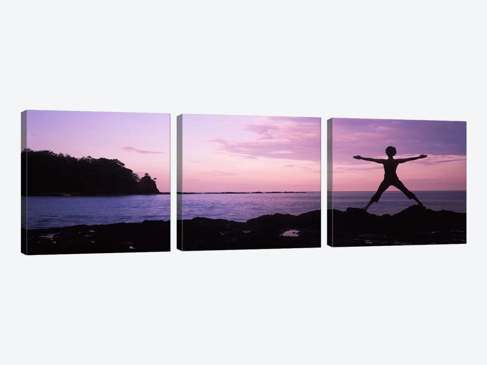 Rear view of a woman exercising on the coast, La Punta, Papagayo Peninsula, Costa Rica 3-piece Canvas Art Print