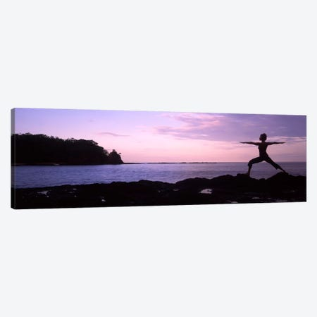 Rear view of a woman exercising on the coast, La Punta, Papagayo Peninsula, Costa Rica #2 Canvas Print #PIM9257} by Panoramic Images Canvas Artwork