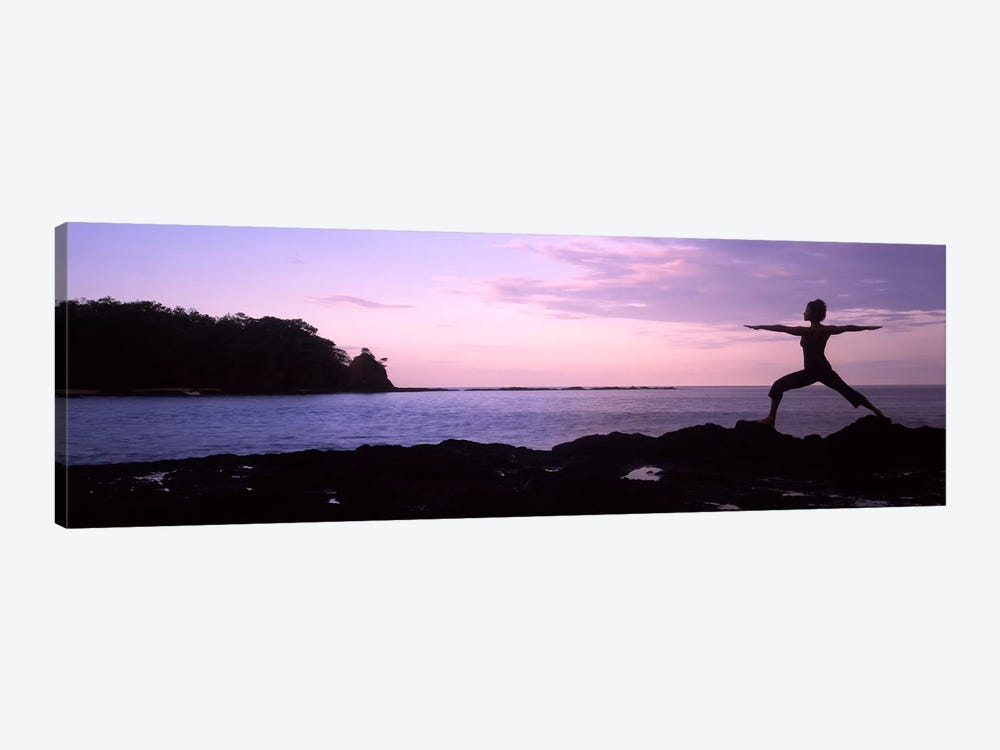 Rear view of a woman exercising on the coast, La Punta, Papagayo Peninsula, Costa Rica #2 by Panoramic Images 1-piece Canvas Artwork