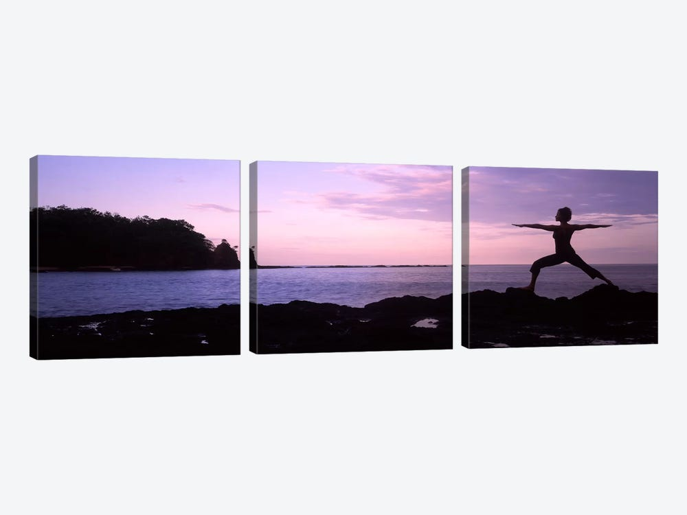 Rear view of a woman exercising on the coast, La Punta, Papagayo Peninsula, Costa Rica #2 by Panoramic Images 3-piece Canvas Wall Art