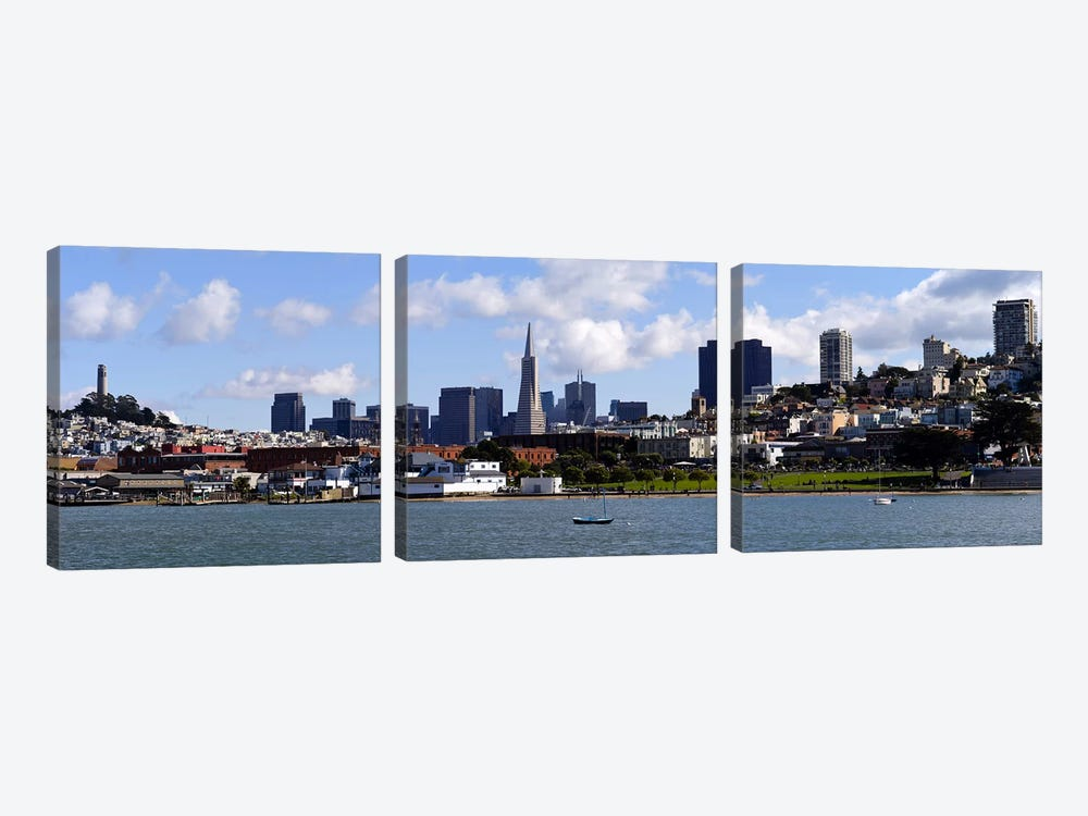 City at the waterfront, Coit Tower, Telegraph Hill, San Francisco, California, USA by Panoramic Images 3-piece Canvas Wall Art
