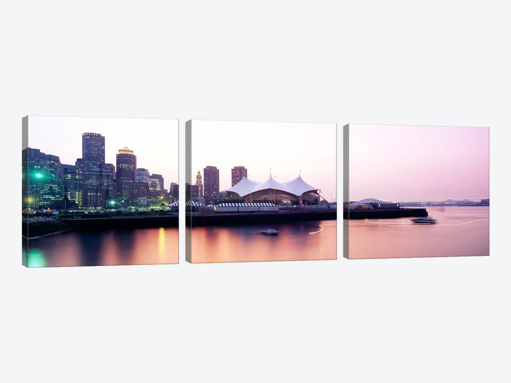 Skyscrapers at the waterfront, Charles river, Boston, Massachusetts, USA by Panoramic Images 3-piece Canvas Art Print