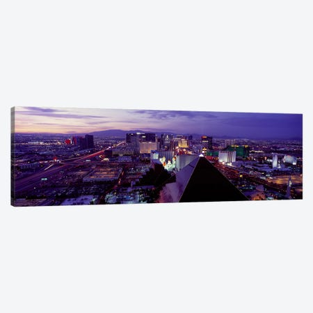 City lit up at dusk, Las Vegas, Clark County, Nevada, USA Canvas Print #PIM9263} by Panoramic Images Canvas Artwork