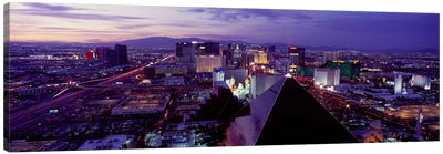 City lit up at dusk, Las Vegas, Clark County, Nevada, USA Canvas Art Print