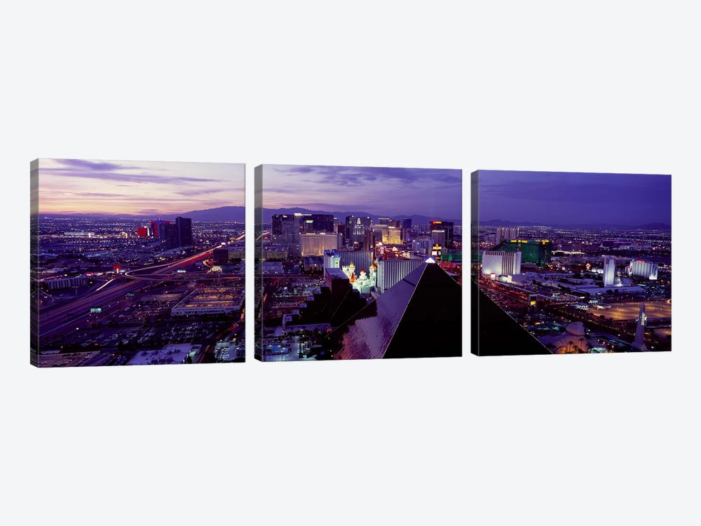 City lit up at dusk, Las Vegas, Clark County, Nevada, USA by Panoramic Images 3-piece Canvas Print